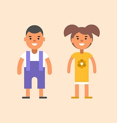 Two children stading apart Boy and girl vector image vector image