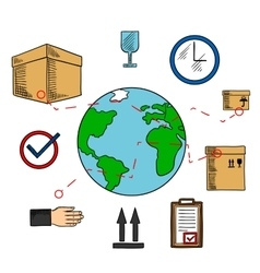Worldwide shipping and logistics service vector image