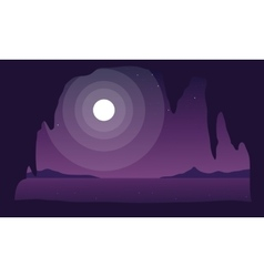 Beautiful sea at night landscape silhouettes vector
