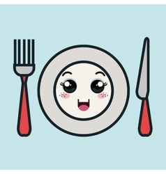 cartoon plate fork and knife with facial vector image