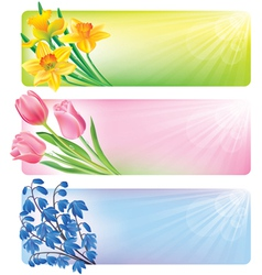 Horizontal spring banners of flowers vector