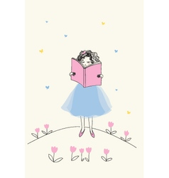 Pretty girl reading a book vector