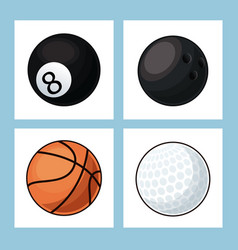 collection balls sport icons vector image