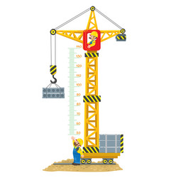 Construction crane meter wall or height chart vector