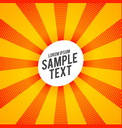 Yellow background with orange halftone rays vector
