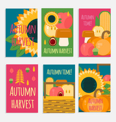 banners of autumn harvest in flat style vector image