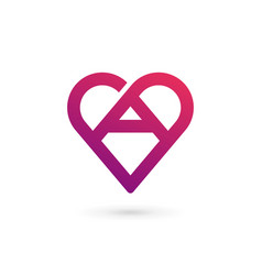Letter a heart logo icon design template elements vector