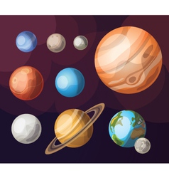 Set of planets of solar system vector
