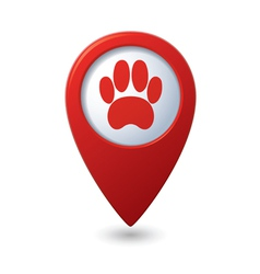 Animal footstep red pointer vector