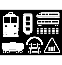 Isolated railway white objects set vector