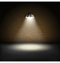 Spotlight on brick wall background vector