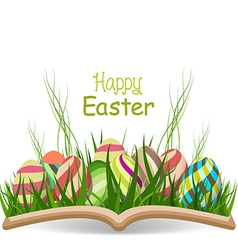 Happy easter egg spring with grass in the book vector