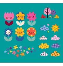 Flowers clouds nature design elements set vector