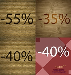 35 40 icon set of percent discount on abstract vector