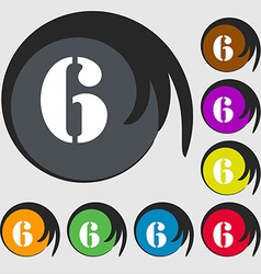 Number six icon sign symbols on eight colored vector