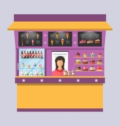 Sweet shop with cakes ice creams muffins vector