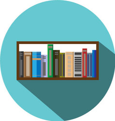 Book shelf icon flat style vector