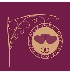 Retro wedding sign two hearts and rings vector