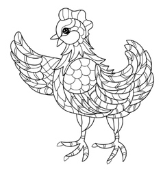 Hen hand drawn decorative farm animal vector