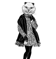 Fashion hipster animal cat portrait vector