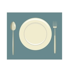 Place setting with empty dish fork and knife icon vector