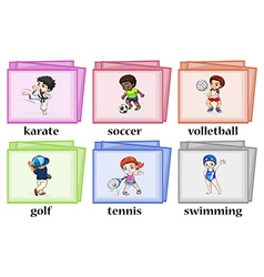Wordcards about different sports vector image