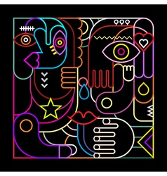 abstract art neon vector image vector image