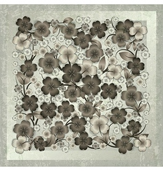 abstract floral ornament on grey grunge background vector image vector image