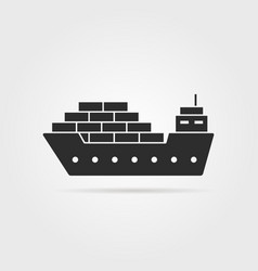 Black cargo ship icon with shadow vector