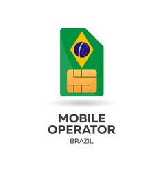 Brazil mobile operator sim card with flag vector
