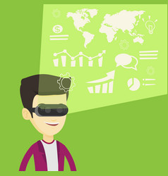 Businessman in vr headset analyzing virtual data vector