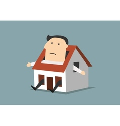 Cartoon businessman sitting in little house vector image