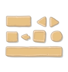 Cartoon stone game ui assets set isolated on vector image