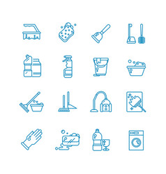 cleaning and washing house outline icons vector image vector image