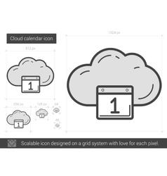 Cloud calendar line icon vector