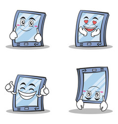 collection of tablet character cartoon style set vector image vector image