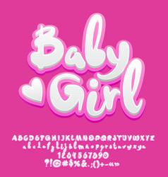 cute pink baby girl alphabet vector image