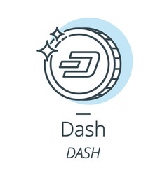 dash cryptocurrency coin line icon of virtual vector image vector image