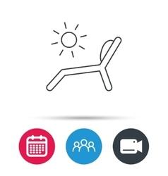Deck chair icon beach chaise longue sign vector