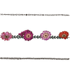 doodle floral line with violet daisies flowers vector image