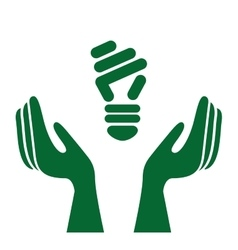 Ecological hands protecting isolated icon design vector