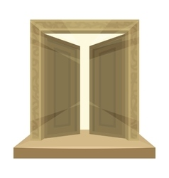 Gates to Valhalla icon in cartoon style isolated vector image