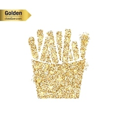 Gold glitter icon of french fries isolated vector