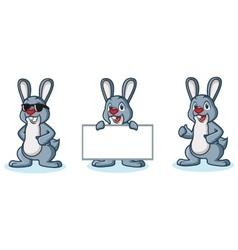 Gray Bunny Mascot happy vector image