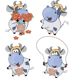 Happy cowsclip art cartoon vector