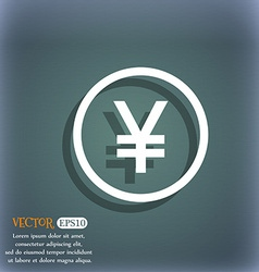 Japanese Yuan icon sign On the blue-green abstract vector image