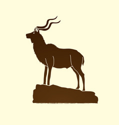 Kudu standing on the cliff angry oryx big horn vector