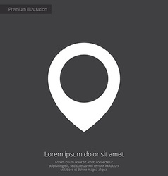 Map pin premium icon white on dark background vector