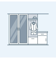 Modern interior hallway with a wardrobe and a vector