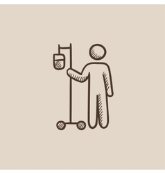 Patient standing with intravenous dropper sketch vector